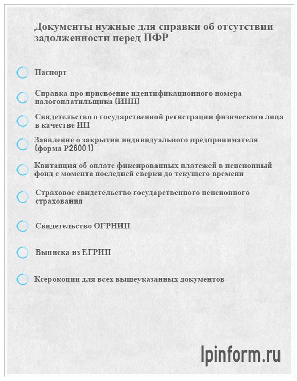 документы о закрытии ип в пенсионный